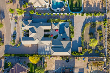Birds eye view of large, 7 bedroom, 4 bath vacation home that sleeps 18