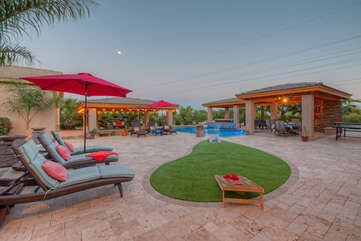 Resort living at its best includes large pool with option to heat, hot tub, covered pool bar, waterfall, backyard misters, gas fireplace and more