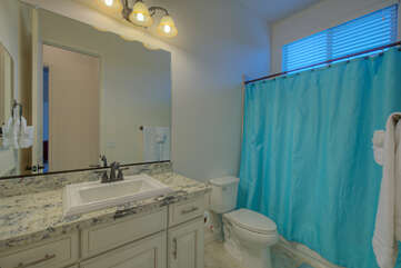 The casita bathroom features a tub/shower combination