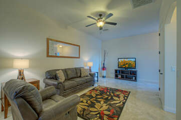 Great room in casita is cozy gathering area to enjoy TV and friendship