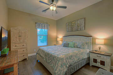 No need to argue about sleeping quarters when the fifth bedroom is yet another bedroom with a king bed and television