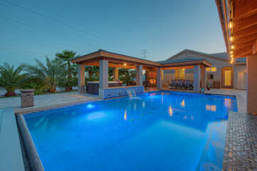 Enjoy year round dips in designer pool with option to heat for an additional fee