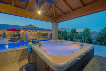 Romantic opportunities abound in shaded hot tub