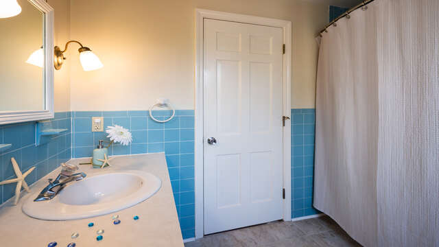 Full bath in hall on 1st floor - 790 Queen Anne Road Harwich- Cape Cod New England Vacation Rentals