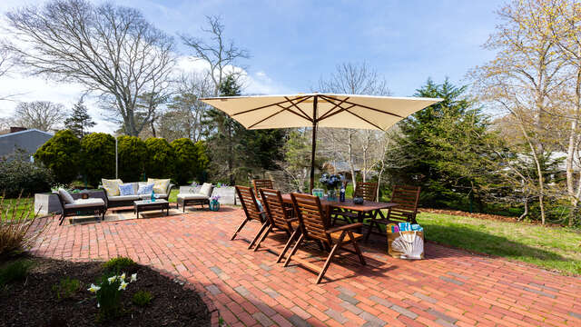 Table seats 8 for al fresco dining - 790 Queen Anne Road Harwich- Cape Cod New England Vacation Rentals