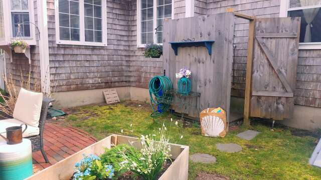 Outdoor shower - a Cape Cod Tradition - 790 Queen Anne Road Harwich- Cape Cod New England Vacation Rentals