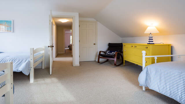 Another look at bedroom 4 at top of stairs on left.  790 Queen Anne Road Harwich- Cape Cod New England Vacation Rentals