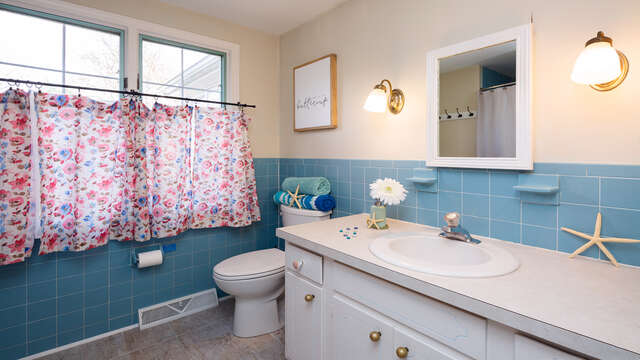 Full bath in hall on 1st floor- 790 Queen Anne Road Harwich- Cape Cod New England Vacation Rentals