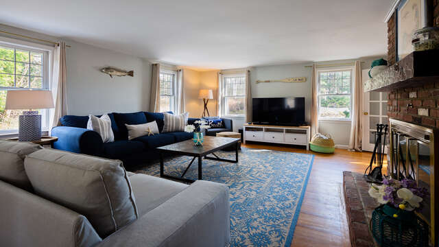 Living room with flat screen TV for movie nights - 790 Queen Anne Road Harwich- Cape Cod New England Vacation Rentals