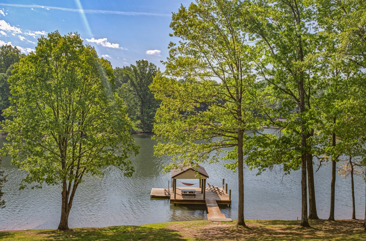 View of his property's dock and the lake