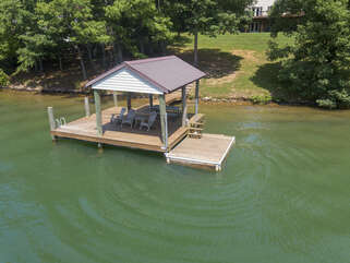 Dock outside this smith mountain lake vacation house rental