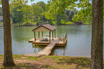 Large dock outside this Smith Mountain Lake vacation house rental