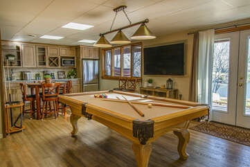 Play pool in the lower level