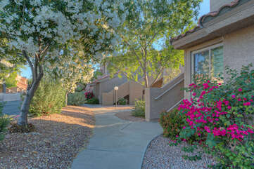 Enjoy quiet walks in gated and safe community with tree lined streets and professionally landscaped green spaces