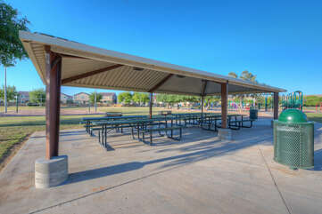 The adjacent city park offers a wide variety of recreational activities and shaded gathering spaces.