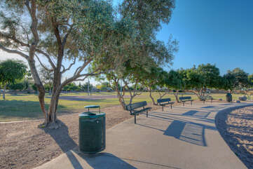 Walk, jog or run around the city park and when you're done, catch your breath on a park bench