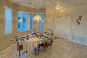 Beautiful tile floor is featured throughout home.