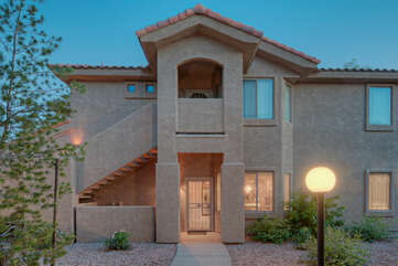Entrance to pretty, ground floor unit in gated and well maintained neighborhood