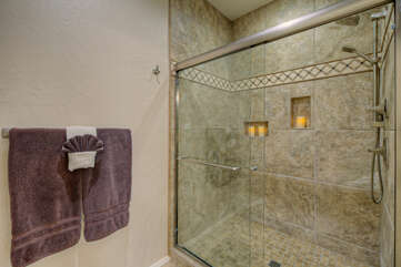Newly remodeled walk in shower provides refreshing cleansing after golfing or hiking on nearby trails