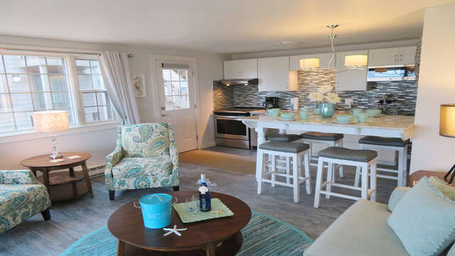View from Living to kitchen and dining- 945 Commercial St Provincetown Cape Cod New England Vacation Rentals
