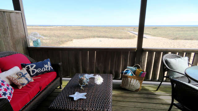 Deck with outdoor furniture-945 Commercial St Provincetown Cape Cod New England Vacation Rentals