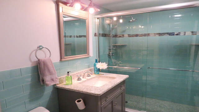Full bathroom with extra large Shower- 945 Commercial St Provincetown Cape Cod New England Vacation Rentals
