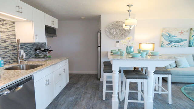 Fully equipped kitchen with dishwasher- 945 Commercial St Provincetown Cape Cod New England Vacation Rentals
