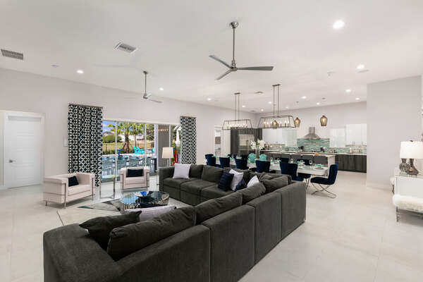 The open floor plan makes the living area a great place for the whole family to gather together