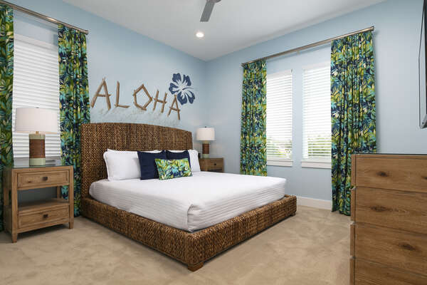 Relax in a tropical paradise in the Hawaii themed bedroom