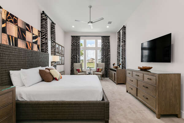 Be whisked away to another continent in the Africa themed master suite