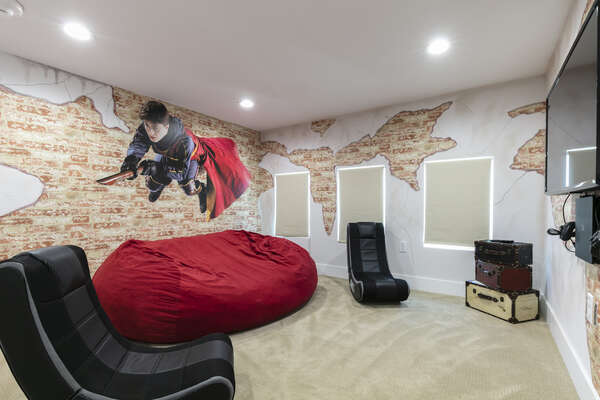 Play on the PS4 in the giant bean bag seating in this magical room