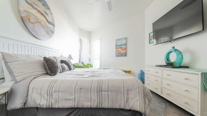 Master Bedroom with King Bed and TV