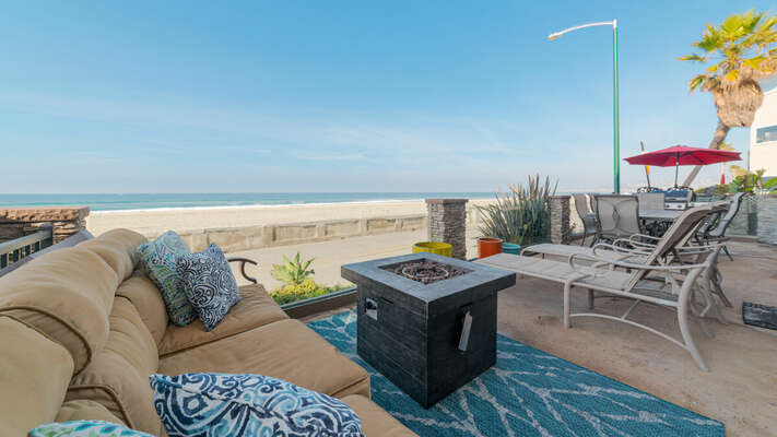 Patio facing the Boardwalk with Seating + Outdoor fire pit