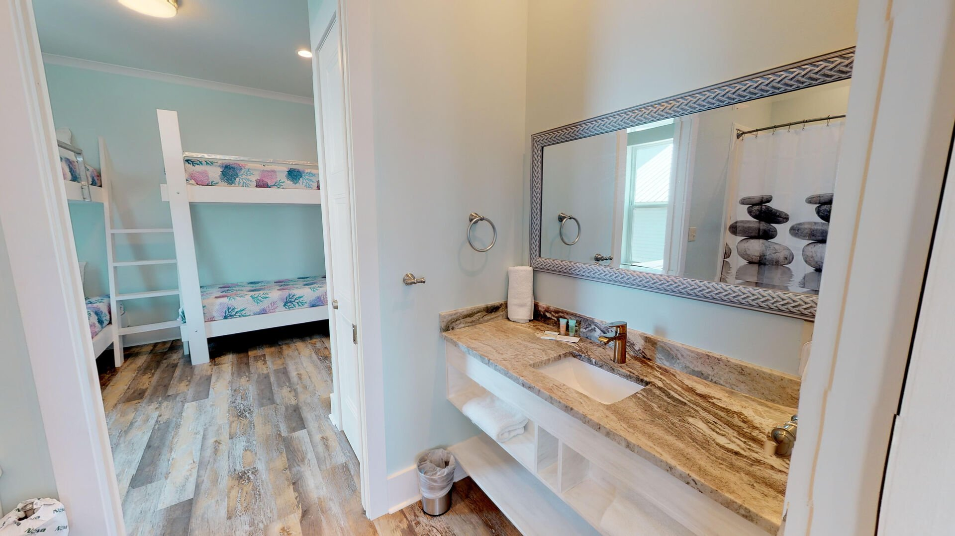 Bedrooms 3 & 4 share a jack and jill bathroom with tub/shower combo.