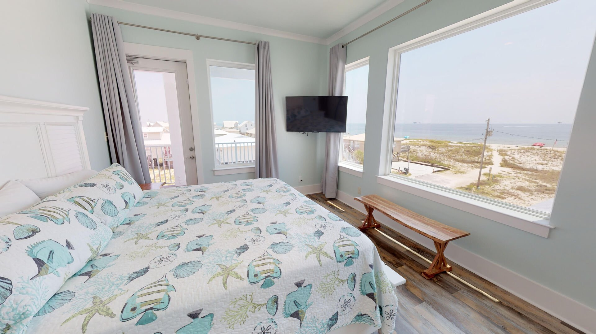 Master Bedroom 2 on 2nd floor has a king bed and smart TV with gorgeous beach views
