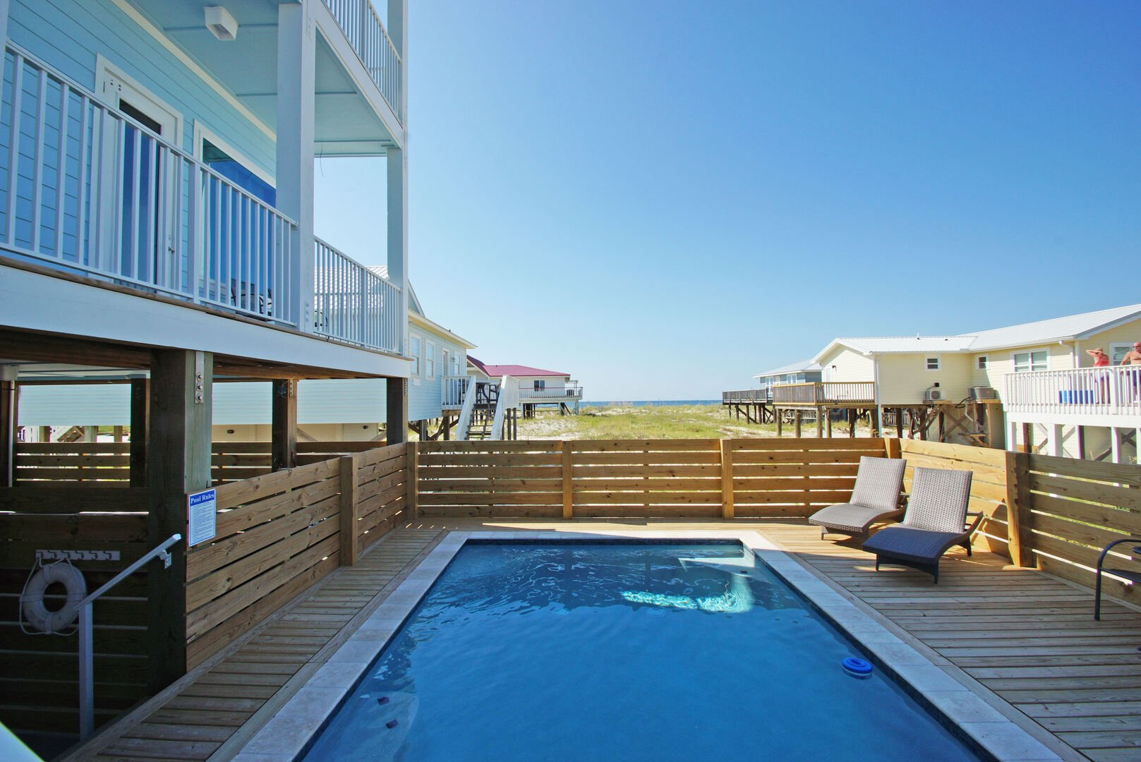 Beach views from the private pool of this Vacation Home in Gulf Shores.