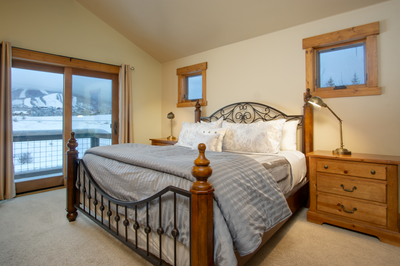 The Master Suite with views of the backyard open space and the ski area.