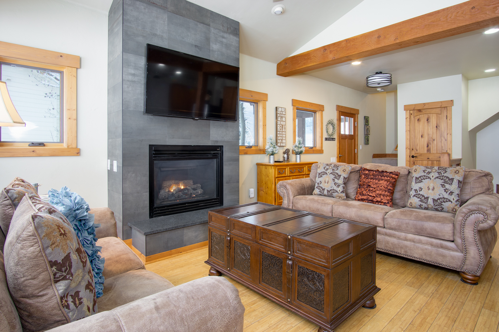 Our warm and inviting living room is a great place to relax after playing hard in Steamboat all day long.