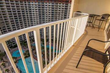 balcony over looking the pool