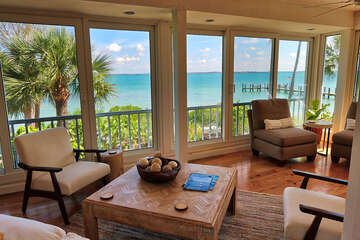 Living area with beautiful bay front views