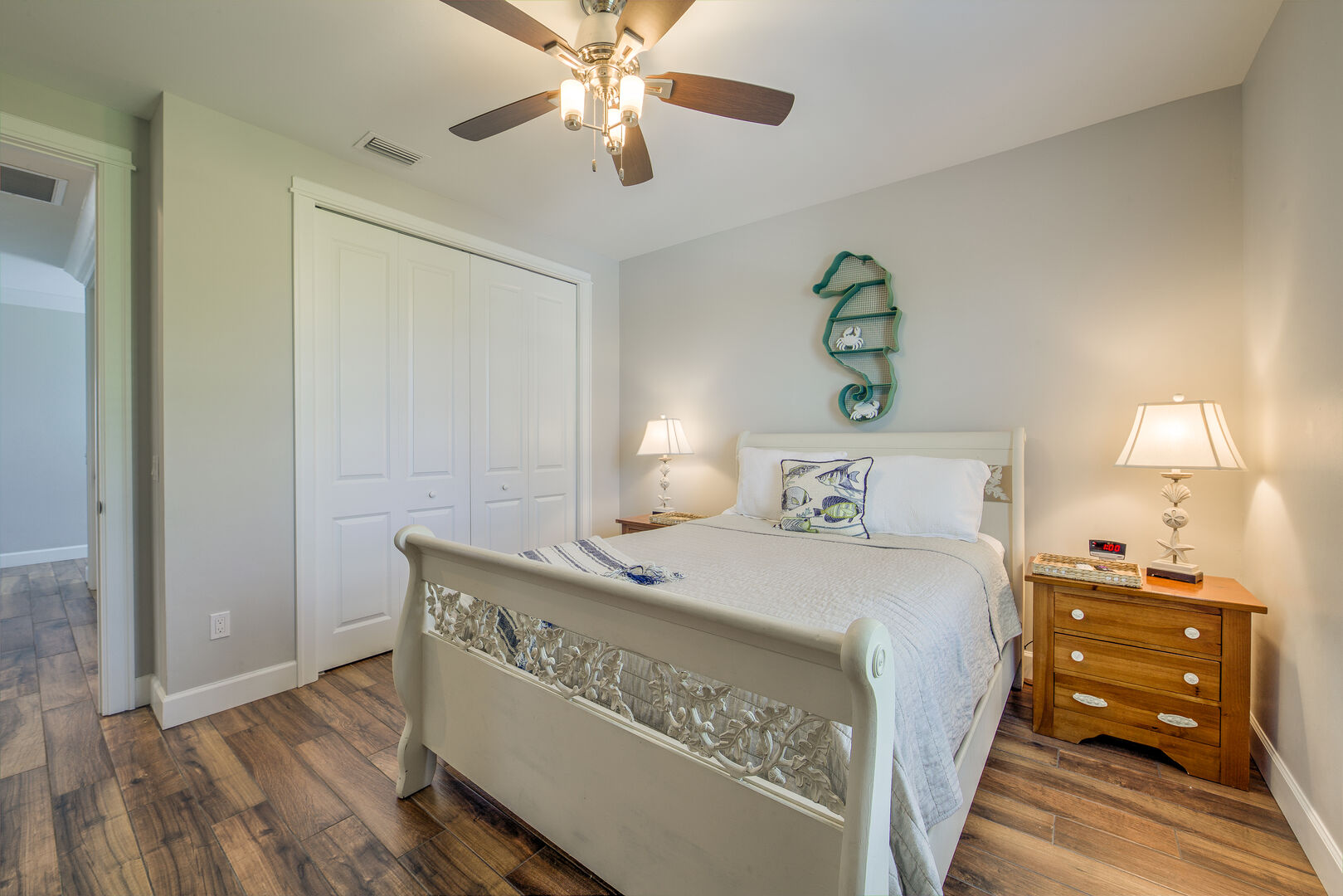 Comfortable Bedroom with Closet in Island Grande Vacation Home for Rent in Fort Myers Beach