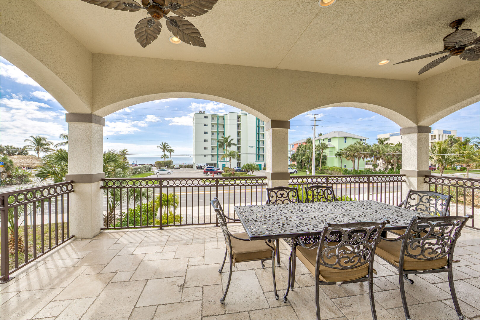 Large Balcony with Seating Island Grande Vacation Home for Rent in Fort Myers Beach