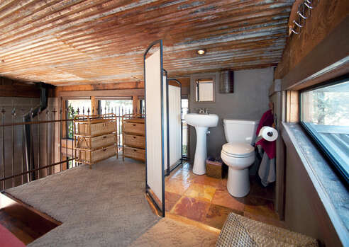 Loft Bedroom Half Bath with a Low Ceiling