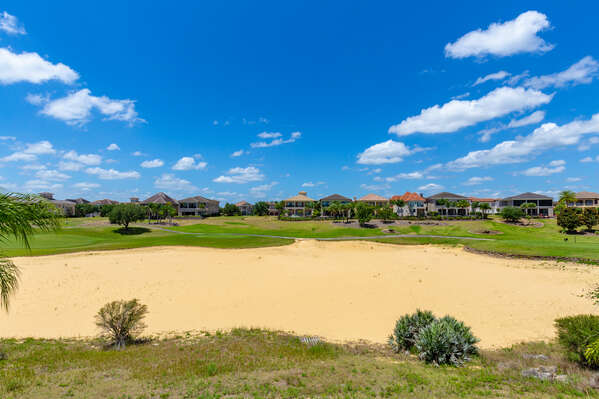 Enjoy the beautiful views of the Jack Nicklaus Golf course right from your private king suite