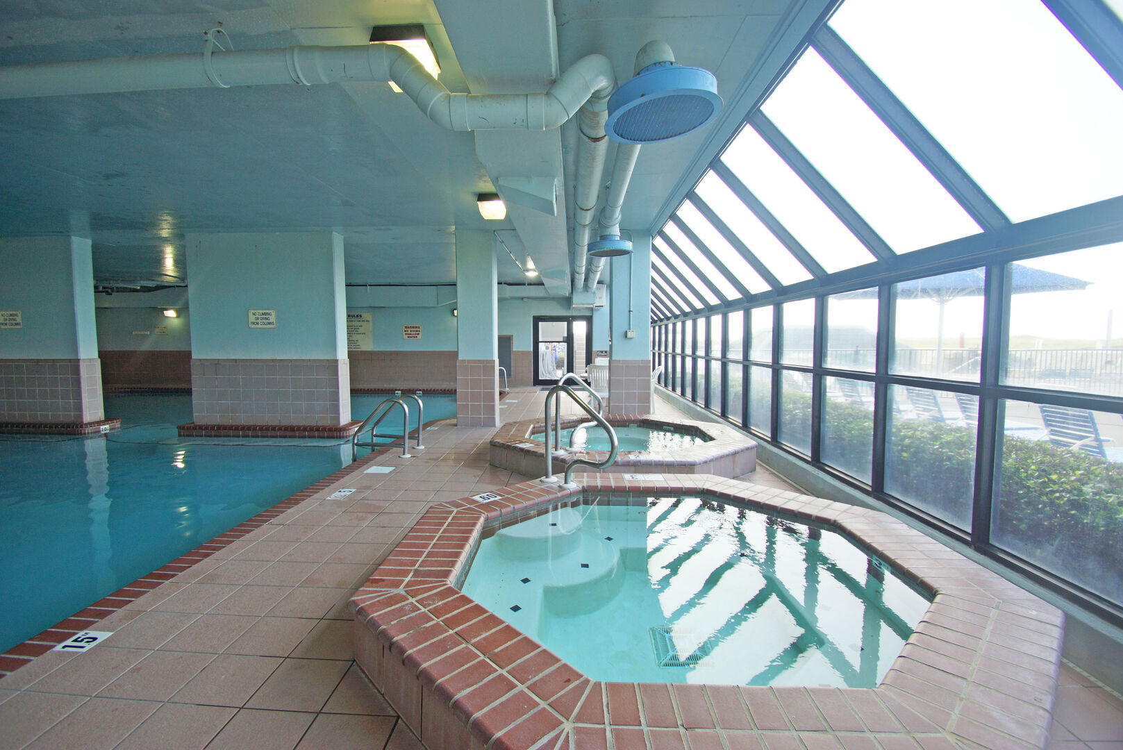Indoor Hot Tubs, the Pool, and Windows.