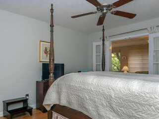 Master bedroom with queen bed and HDTV