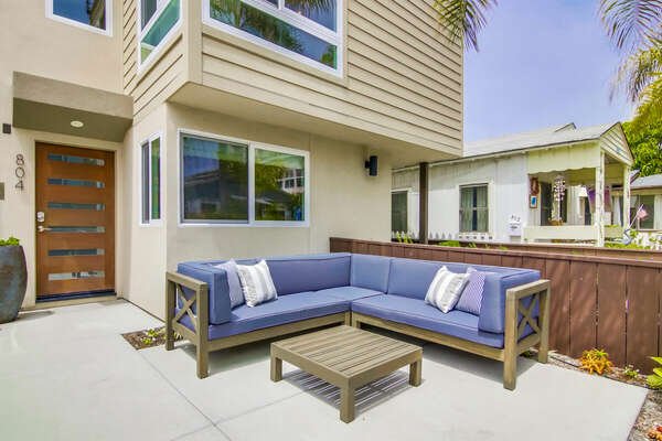 Front Patio with blue sectional