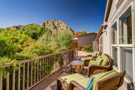 Large Front Deck with Views of Thunder Mountain