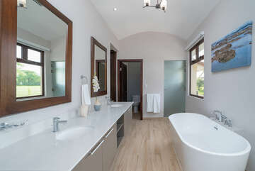Tub and double sinks