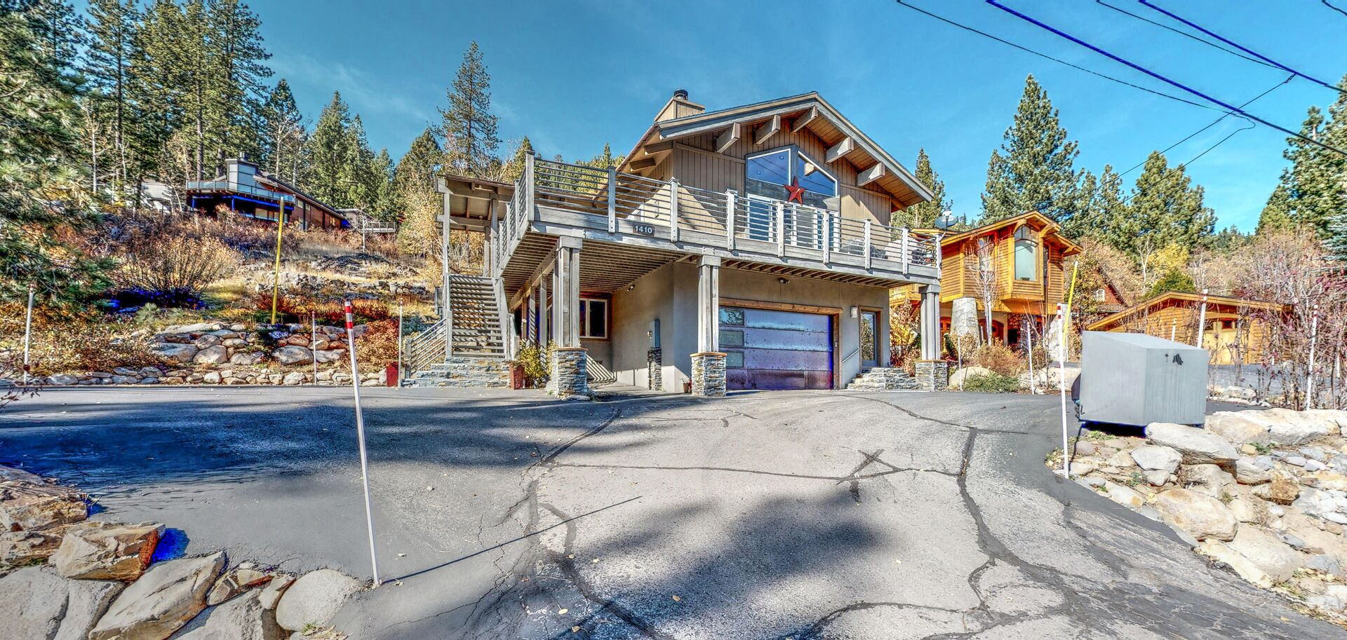 Front view of this squaw valley rental, showing off the garage